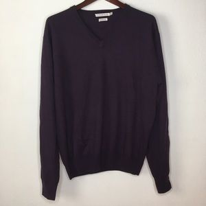 Peter Millar Merino Wool Purple V Neck Sweater M